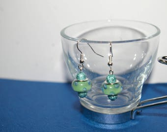 Earrings green glass beads and stardust beads