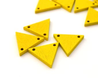 4 connectors 20 mm x 17 mm wooden yellow triangles