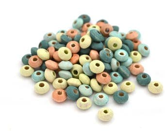 100 light green, pink abacus beads multicolored metallic wood 5 mm