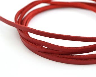 Cord flat leather 3mm red suede Christmas
