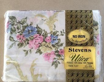 Vintage Stevens Utica Canterbury Twin flat Sheet