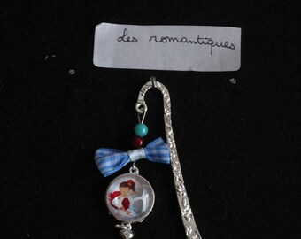bookmark in silver metal charm and poppy and girl glass cabochon beads