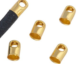 Set of 10 caps Metal finish with eye of 2.7 mm - for round leather (4.6 mm hole) - Gold - EMBFCR416OR219