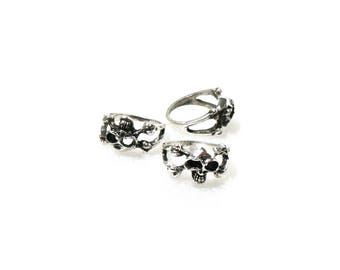 Metal ring of style to customize 'skull' finger ± 18mm