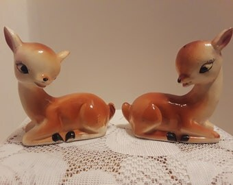 Deer Salt and Pepper Shakers, Made In Japan, Vintage