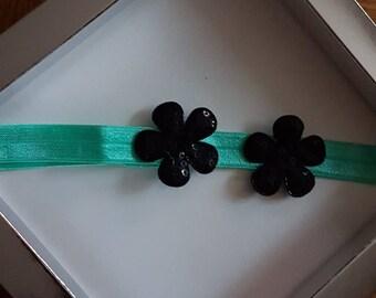 Baby and girl - sea green & black headband