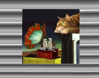 Very large magnet with cat: my beautiful phonograph