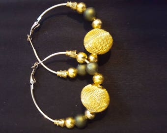 Gold and Green Earrings on a Silver Hoop