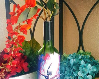 "Decorarive wine bottle ""ballet in blues and reds"" hand painted. One of a kind."