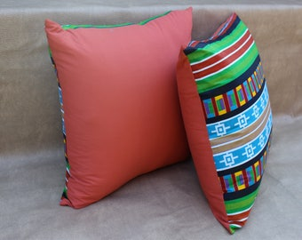 African print - Set of 2 African print pillow covers - Pillow cases - 100% cotton - Cushion cover - Home decor