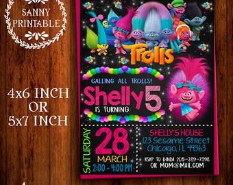 Trolls Invitation, Trolls Birthday Party, Trolls Birthday Invitation, Trols, Personalized, Printable, Free Thank you card