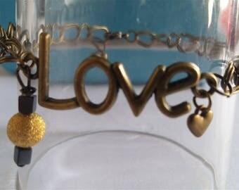 love bracelet with bronze chain
