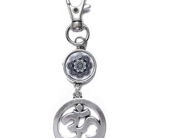 Bag charm - OM MANI PADME HUM Mandala keychain