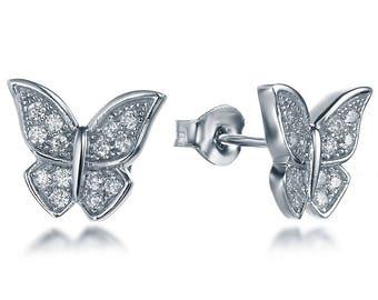 925 Sterling Silver Cz Stone Cubic Zirconia Butterfly Earrings Studs SSE2676