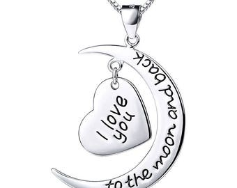 925 Silver I Love U to the Moon and Back Moon Heart Necklace Pendant Ss814