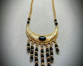 Gold Pearl bib necklace black