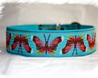 """Dog collar """"Butterfly dream"""" Jacquard ribbon with an unique colourful ornaments in the most elegant design"""