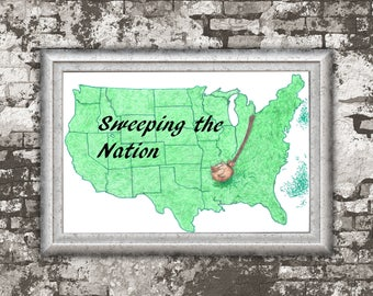 Sweeping the Nation / Pun Art / Colored Pencil Art / Poster Art