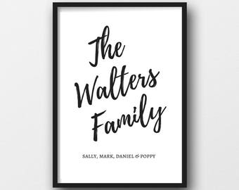 A4 Personalised Family Print