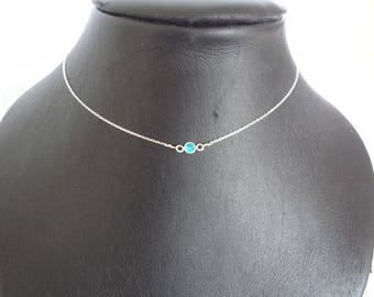 Blue rhinestone in 925 sterling silver necklace