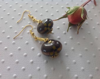 Hand painted Pearl Earrings