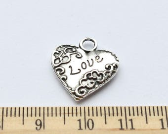 4 Antique Silver Plated Love Heart Charm - EF00142