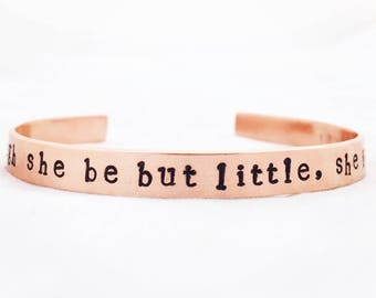 Though she be but little, she is fierce!bracelet. Empowering quote cuff. Positivity bangle. Feminism feminist jewellery.