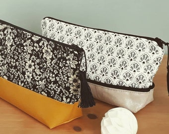 Faux leather and cotton pouch