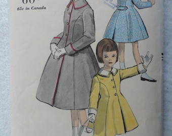 Girl's, Children's Coat and Hat Pattern from 1950's, Vintage Vogue 2897, Size 8 - VERY RARE