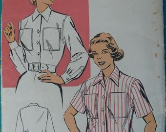Women's, Misses' Tailored Blouse, Shirt Pattern, Vintage New York 1589, Size 18-36, CoPA Pattern