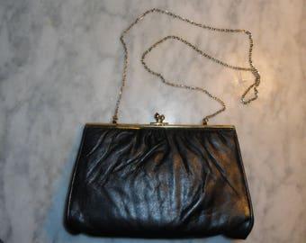 Vintage Harry Levine HL USA Faux Leather Clutch Purse Handbag Black Evening Bag Ships Free Vinyl
