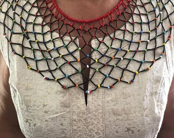 Multi colored beaded chest necklace