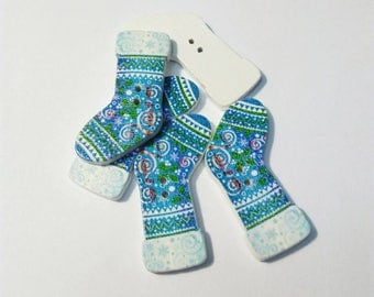Lot 5 buttons Blue Christmas boots and multicolored patterns