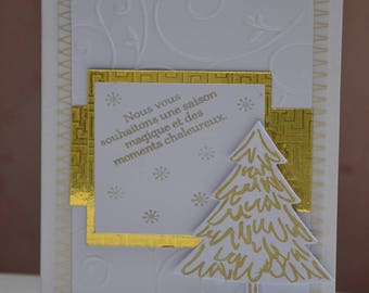 Merry Christmas tree gold and white card