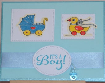"Card congratulations baby boy ""It's a boy"""