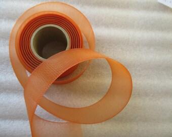 orange tulle in 4.5 cm for wedding or baptism