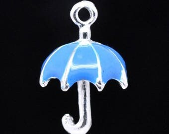 x 1 enameled blue and silver umbrella charm.