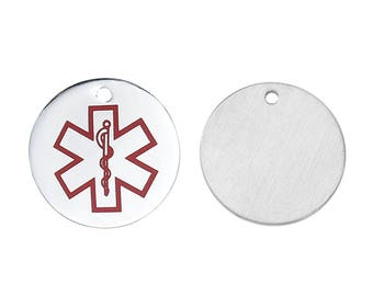 x 1 medal charm pendant 20 mm steel health.
