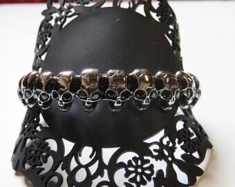 Crane skull head, rock stainless, steel bracelet