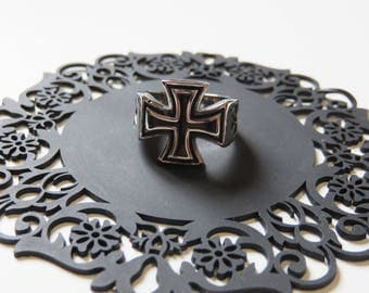Ring cross-cut Black Knight, stainless steel cross Royal T:57 T:59