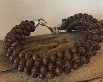 Kumihimo brown wood bead braided bracelet silver clasp