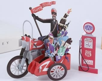 3D Harley Davidson motor knight rider cyclist couple lover chopper gas petrol station birthday Valentines card for him her husband partner