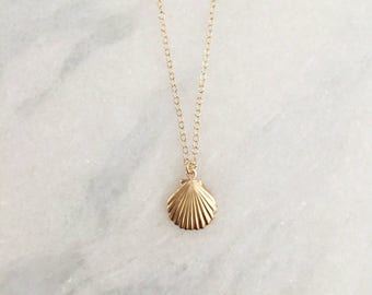 14k Gold Filled Seashell Dainty Necklace