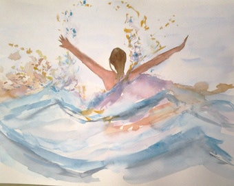"watercolor ""joy"" the sea, summer... The experience."