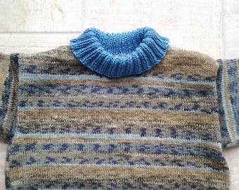 for 3 year old winter pullover goumy blue and khaki.