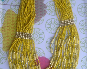 Yellow NECKLACE, summer necklace *.