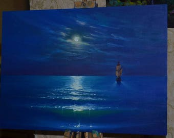 "Oil painting  ""The night sea""."