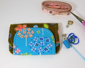 Knitting Notions Pouch, Knitting Notions Case, Knitting Notions Wallet, Knitting Organization - Florals, Teal, Brown