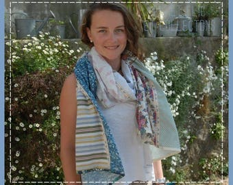 """""""I went down in my garden..."""" scarf/shawl scarf scarf soft and lightweight patchwork 6 colors"""