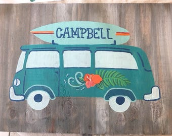 Custom Vintage Van with Surfboard